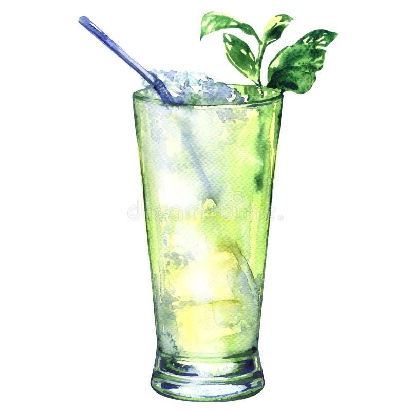 Τροπικό πράσινο οινοπνευματώδες ρούμι κοκτέιλ witn, ποτό, που απομονώνεται, απεικόνιση watercolor διανυσματική απεικόνιση