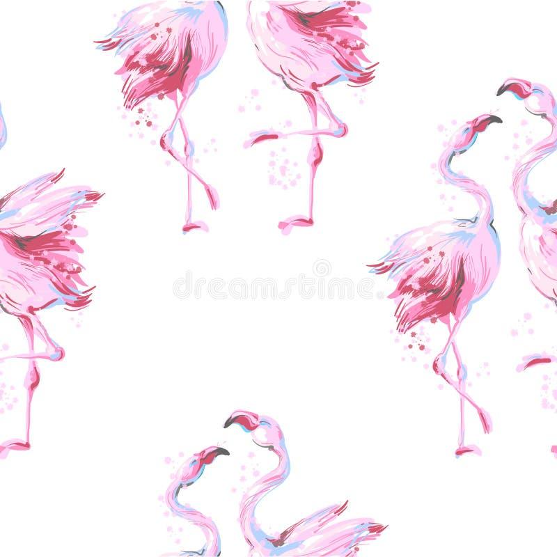Τροπικό ρόδινο πουλιών φλαμίγκο διάνυσμα σχεδίων υποβάθρου άνευ ραφής στο λευκό απεικόνιση αποθεμάτων