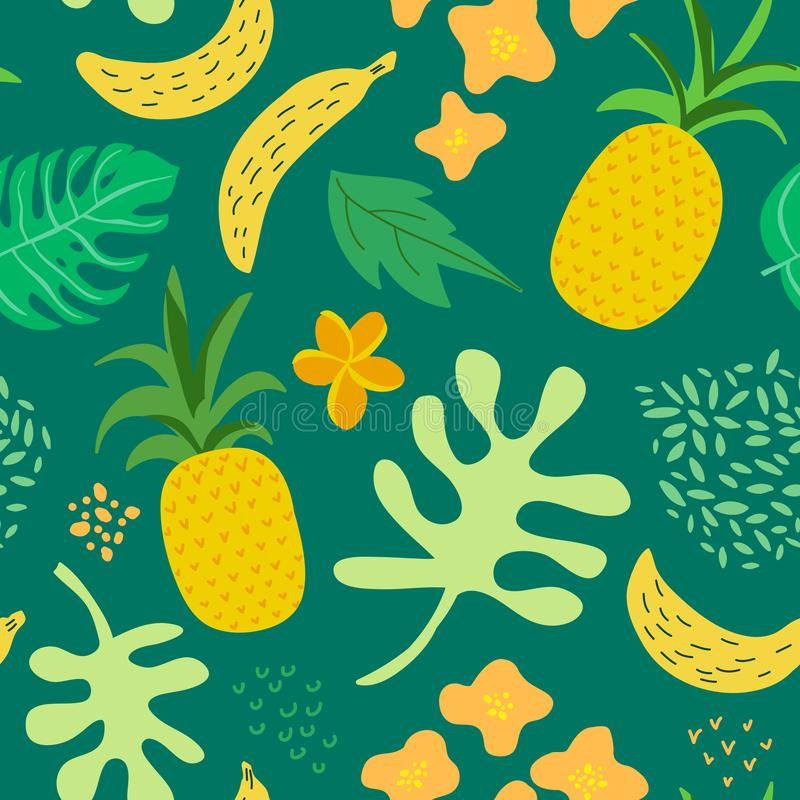 Τροπικό σχέδιο λουλουδιών και φύλλων Αναδρομικό άνευ ραφής καθιερώνον τη μόδα ύφος της Μέμφιδας υποβάθρου ανανάδων Σχέδιο φύσης θ διανυσματική απεικόνιση
