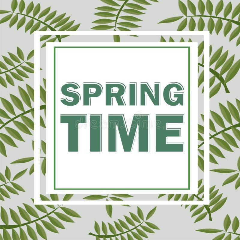 Τροπικό σχέδιο με τα φύλλα φοινικών Ο χρόνος άνοιξη… αυξήθηκε φύλλα, φυσική ανασκόπηση Διανυσματικό floral πλαίσιο προτύπων ελεύθερη απεικόνιση δικαιώματος