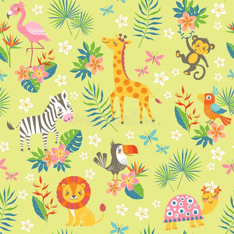 Τροπικό σχέδιο με τα χαριτωμένα ζώα απεικόνιση αποθεμάτων