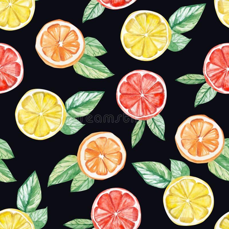 Τροπικό σχέδιο φρούτων Watercolor λεμόνι, πορτοκάλι, τυπωμένη ύλη γκρέιπφρουτ για το υφαντικό ύφασμα, ταπετσαρία, υπόβαθρο αφισών ελεύθερη απεικόνιση δικαιώματος