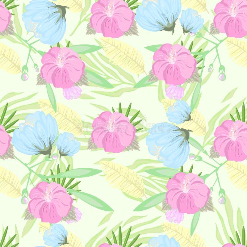 Τροπικό σχέδιο λουλουδιών επίσης corel σύρετε το διάνυσμα απεικόνισης απεικόνιση αποθεμάτων
