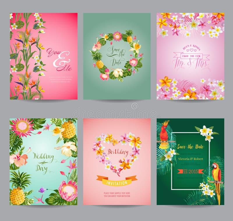 Τροπικό σύνολο καρτών λουλουδιών διανυσματική απεικόνιση
