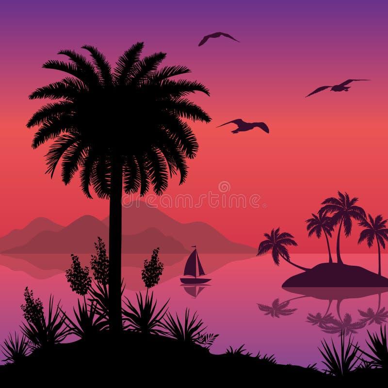 Τροπικό τοπίο θάλασσας με τους φοίνικες και το σκάφος ελεύθερη απεικόνιση δικαιώματος