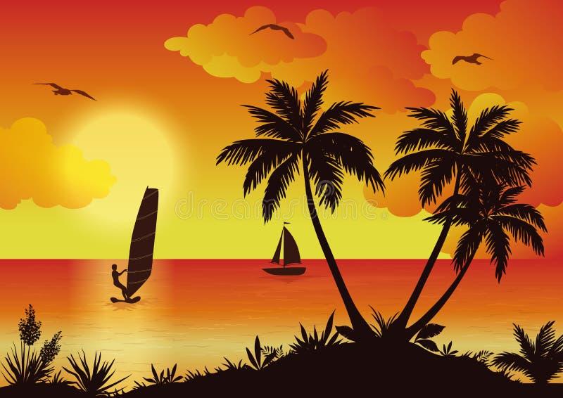 Τροπικό τοπίο θάλασσας με τους φοίνικες και Surfer ελεύθερη απεικόνιση δικαιώματος