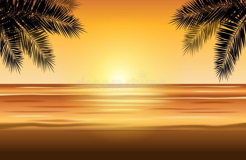 Τροπικό τοπίο με την παραλία, τη θάλασσα, τους φοίνικες και τον ουρανό ηλιοβασιλέματος - απεικόνιση αποθεμάτων