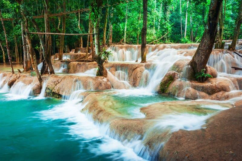 Τροπικό τροπικό δάσος με τον καταρράκτη καταρρακτών Si Kuang Λάος luang prabang στοκ φωτογραφία με δικαίωμα ελεύθερης χρήσης