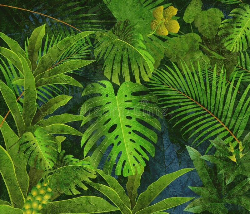 Τροπικό υπόβαθρο ελαιογραφίας τροπικών δασών διανυσματική απεικόνιση