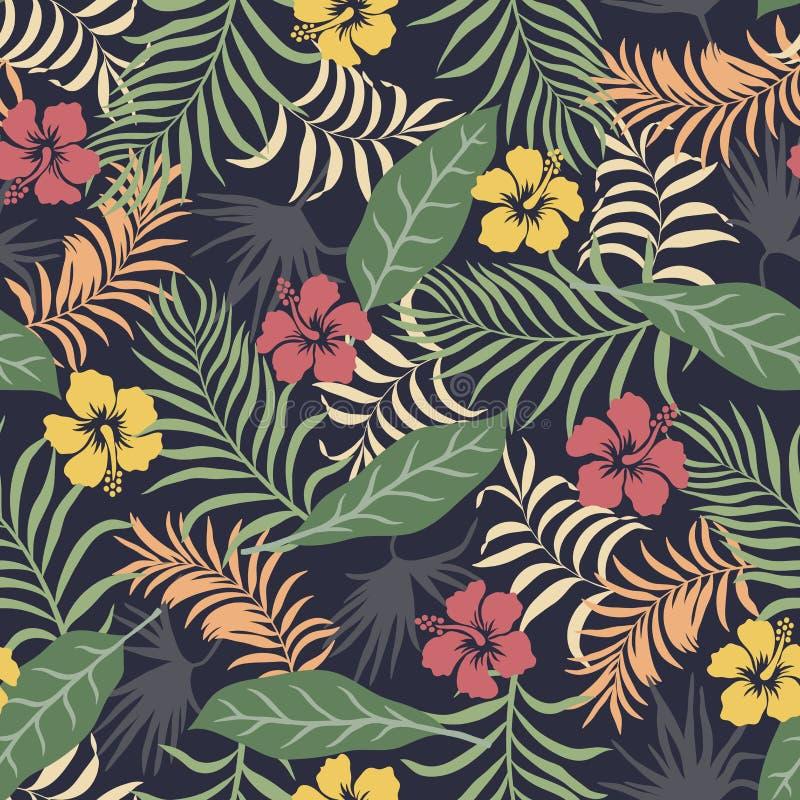 Τροπικό υπόβαθρο με τα φύλλα και τα λουλούδια φοινικών floral πρότυπο άνευ ραφής Θερινή διανυσματική απεικόνιση διανυσματική απεικόνιση