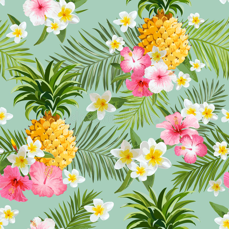 Τροπικό υπόβαθρο λουλουδιών και ανανάδων διανυσματική απεικόνιση