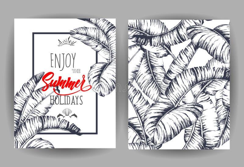 Τροπικό υπόβαθρο φύλλων φοινικών Πρόσκληση ή σχέδιο καρτών με τα φύλλα ζουγκλών Διανυσματική απεικόνιση στο καθιερώνον τη μόδα ύφ διανυσματική απεικόνιση