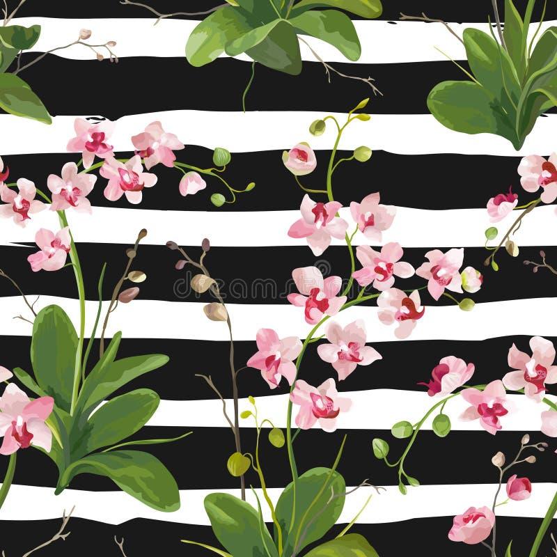 Τροπικό υπόβαθρο φύλλων και λουλουδιών ορχιδεών πρότυπο άνευ ραφής απεικόνιση αποθεμάτων