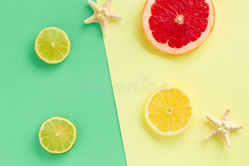 Τροπικό φρέσκο θερινό σύνολο Σχέδιο μόδας Αστέρια εσπεριδοειδών και θάλασσας φρούτων Δημιουργική τέχνη r Τοπ άποψη μόδας Το καλοκ στοκ φωτογραφία