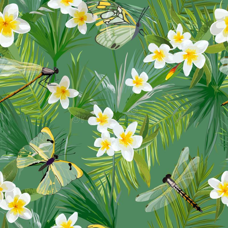 Τροπικό Floral άνευ ραφής σχέδιο με τις λιβελλούλες Υπόβαθρο ζουγκλών με τα φύλλα φοινίκων και τα εξωτικά λουλούδια διανυσματική απεικόνιση