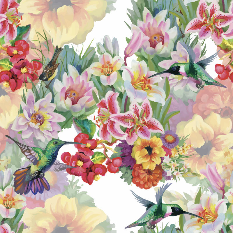 Τροπικό floral άνευ ραφής σχέδιο watercolor με τα colibris και τα λουλούδια υψηλό watercolor ποιοτικής ανίχνευσης ζωγραφικής διορ απεικόνιση αποθεμάτων