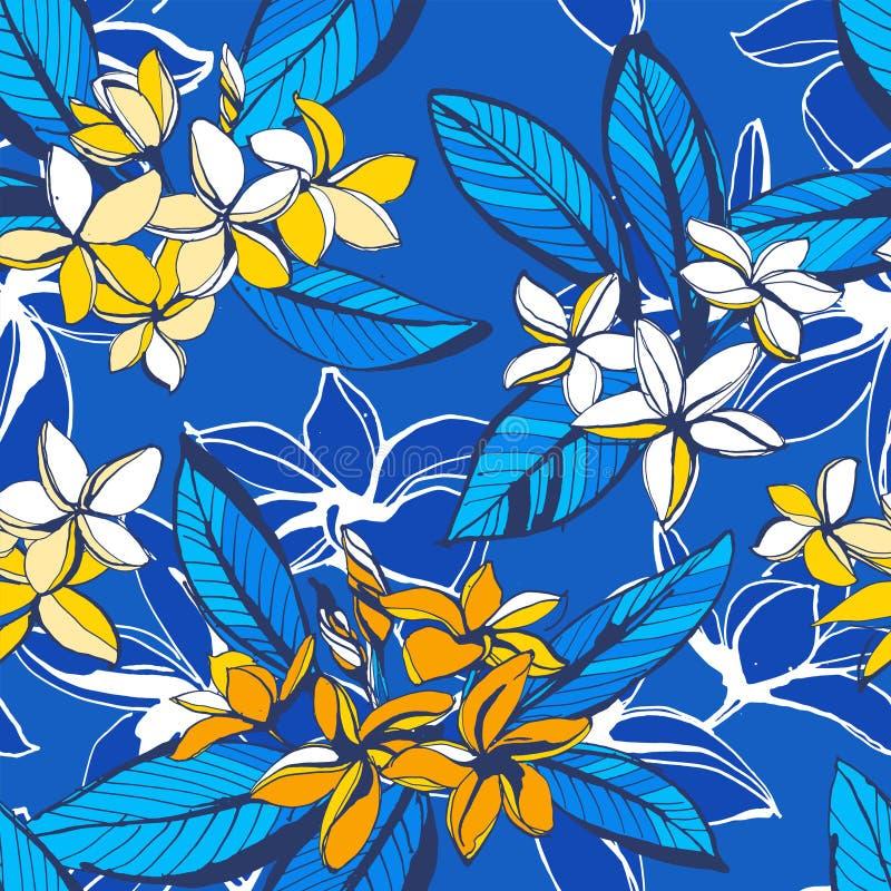 Τροπικό floral θερινό άνευ ραφής σχέδιο με τα φύλλα φοινικών λουλουδιών plumeria διανυσματική απεικόνιση