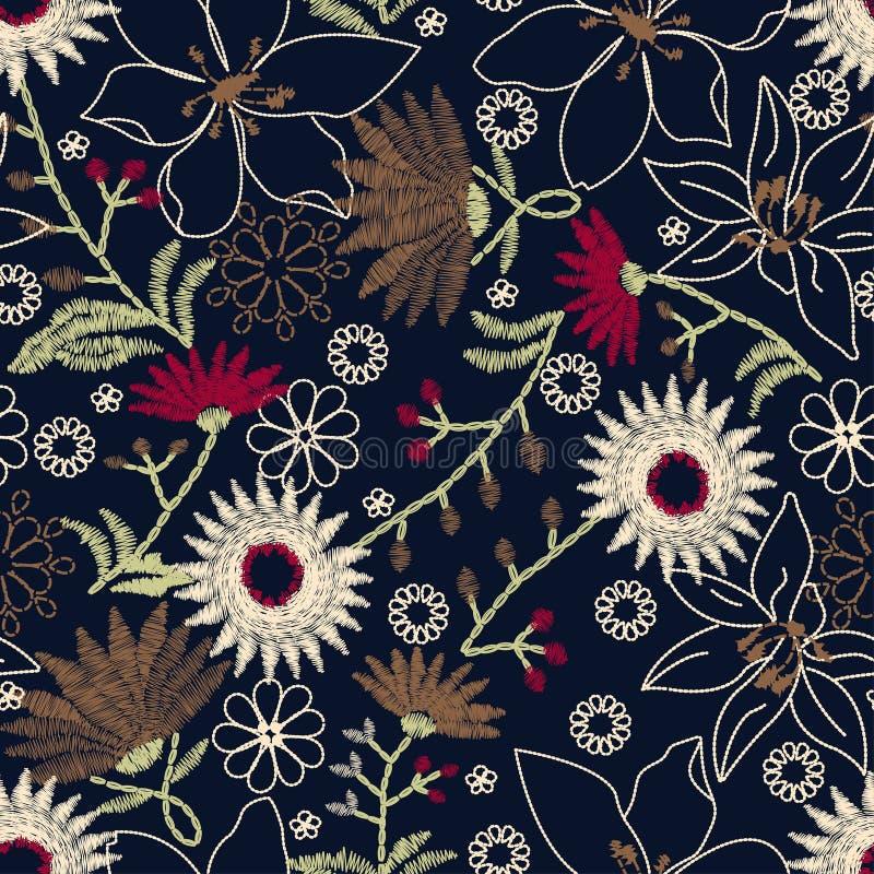 Τροπικό floral σχέδιο κεντητικής σε ένα άνευ ραφής σχέδιο ελεύθερη απεικόνιση δικαιώματος