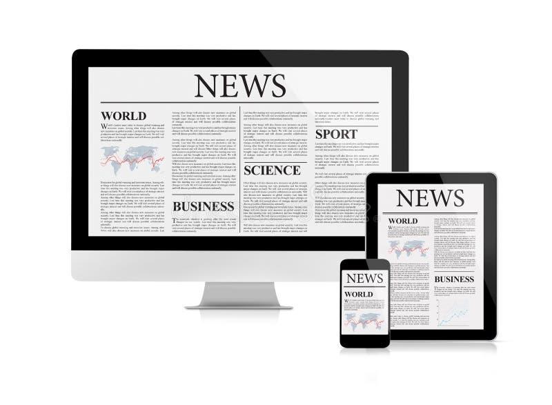 Τροφή ειδήσεων με τις συσκευές στοκ φωτογραφία