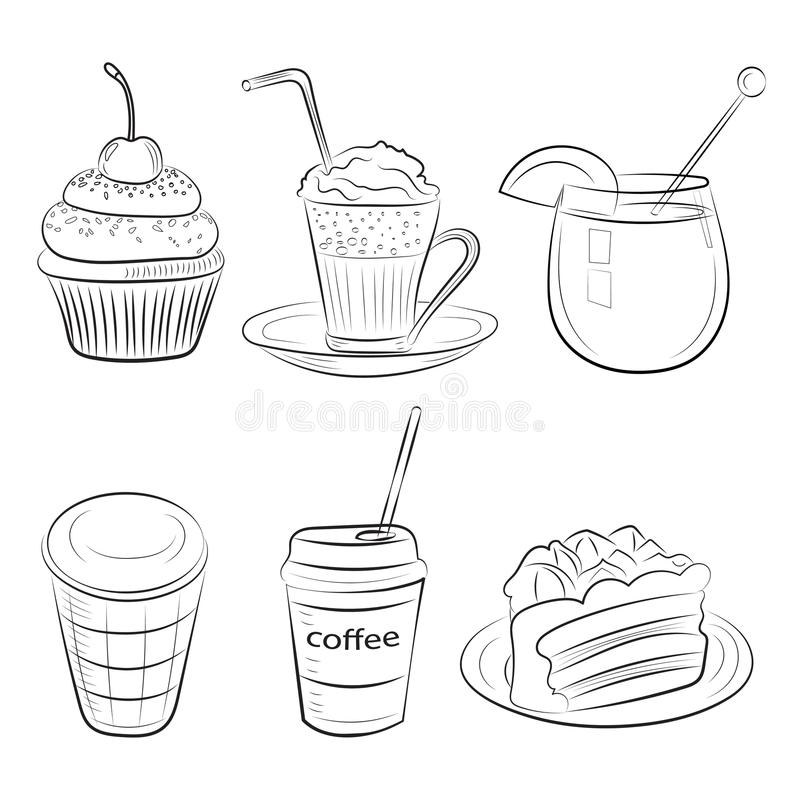 Τροφίμων καφέδων καθορισμένα πρωινού προγευμάτων μεσημεριανού γεύματος ή γευμάτων τραχιά απλά εικονίδια σκίτσων κουζινών doodle σ ελεύθερη απεικόνιση δικαιώματος