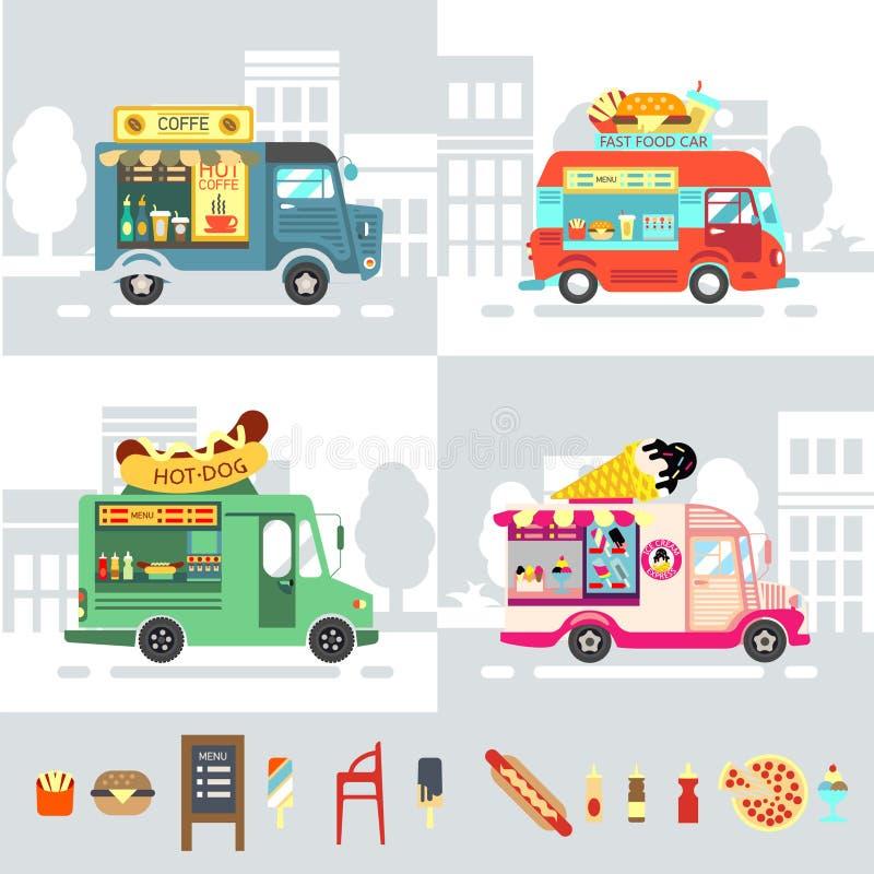 Τροφίμων σύγχρονη διανυσματική απεικόνιση ύφους σχεδίου φορτηγών επίπεδη