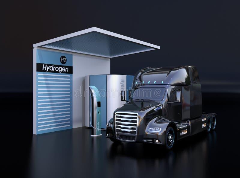 Τροφοδοτημένο κύτταρο καυσίμου γεμίζοντας αέριο υδρογόνο φορτηγών στο σταθμό υδρογόνου κυττάρων καυσίμου διανυσματική απεικόνιση