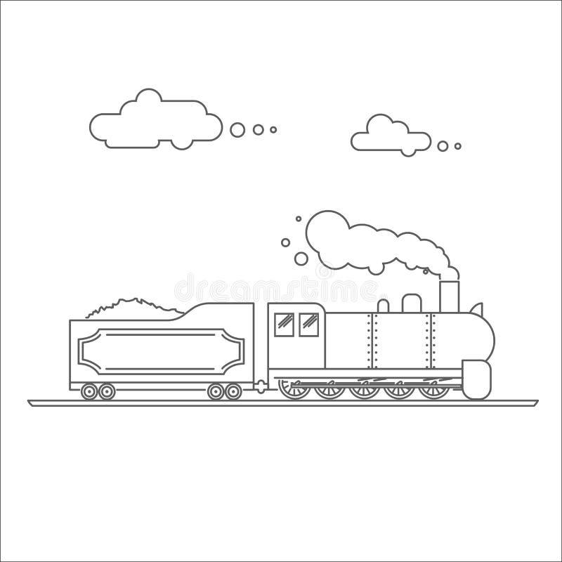 Τροφοδοτημένη ατμός κινητήρια διανυσματική απεικόνιση Εκλεκτής ποιότητας αναδρομικό τραίνο Παλαιά παλαιά τέχνη γραμμών μηχανημάτω ελεύθερη απεικόνιση δικαιώματος