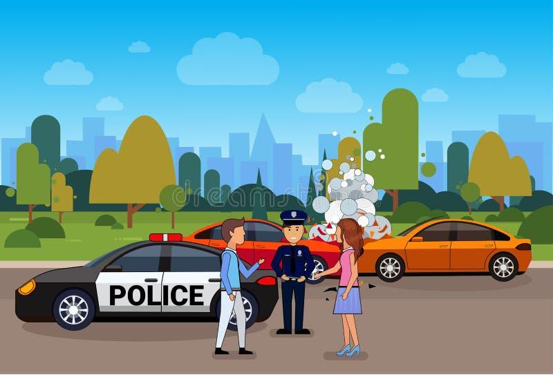Τροχαίο ή συντριβή, σύγκρουση στο δρόμο με τον αρσενικούς και θηλυκούς οδηγό και τον αστυνομικό απεικόνιση αποθεμάτων