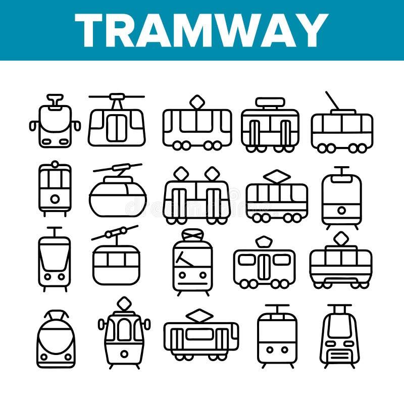 Τροχιοδρομική γραμμή, λεπτά εικονίδια γραμμών αστικών μεταφορών καθορισμένα απεικόνιση αποθεμάτων