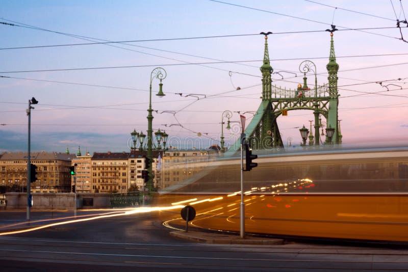 Τροχιοδρομική γραμμή στη Βουδαπέστη στοκ φωτογραφίες