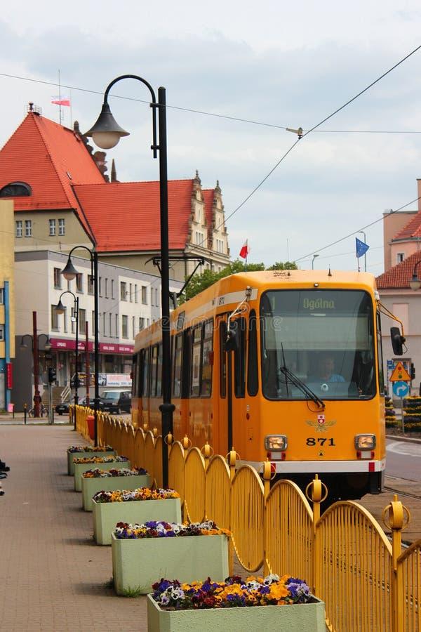 Τροχιοδρομική γραμμή στις οδούς Elblag, Πολωνία στοκ φωτογραφία