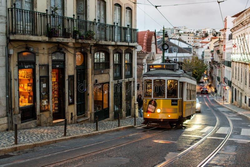Τροχιοδρομική γραμμή της Λισσαβώνας, Λισσαβώνα Πορτογαλία στοκ φωτογραφία με δικαίωμα ελεύθερης χρήσης