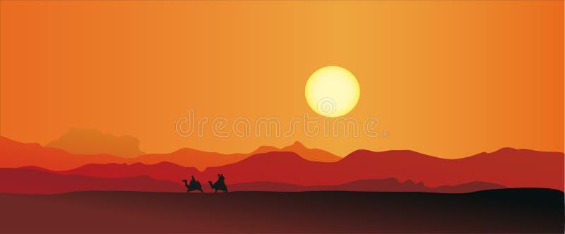 Τροχόσπιτο σε μια έρημο διανυσματική απεικόνιση