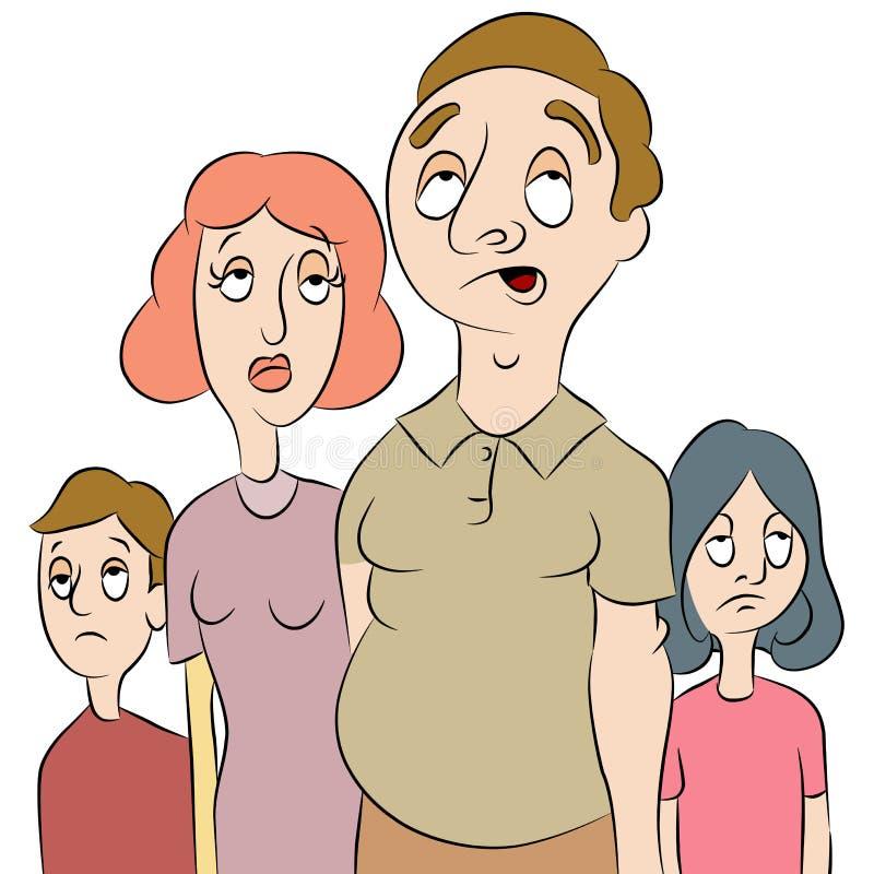 τρυπημένη οικογένεια πο&upsilon διανυσματική απεικόνιση