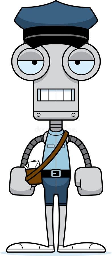Τρυπημένο κινούμενα σχέδια ρομπότ μεταφορέων ταχυδρομείου ελεύθερη απεικόνιση δικαιώματος