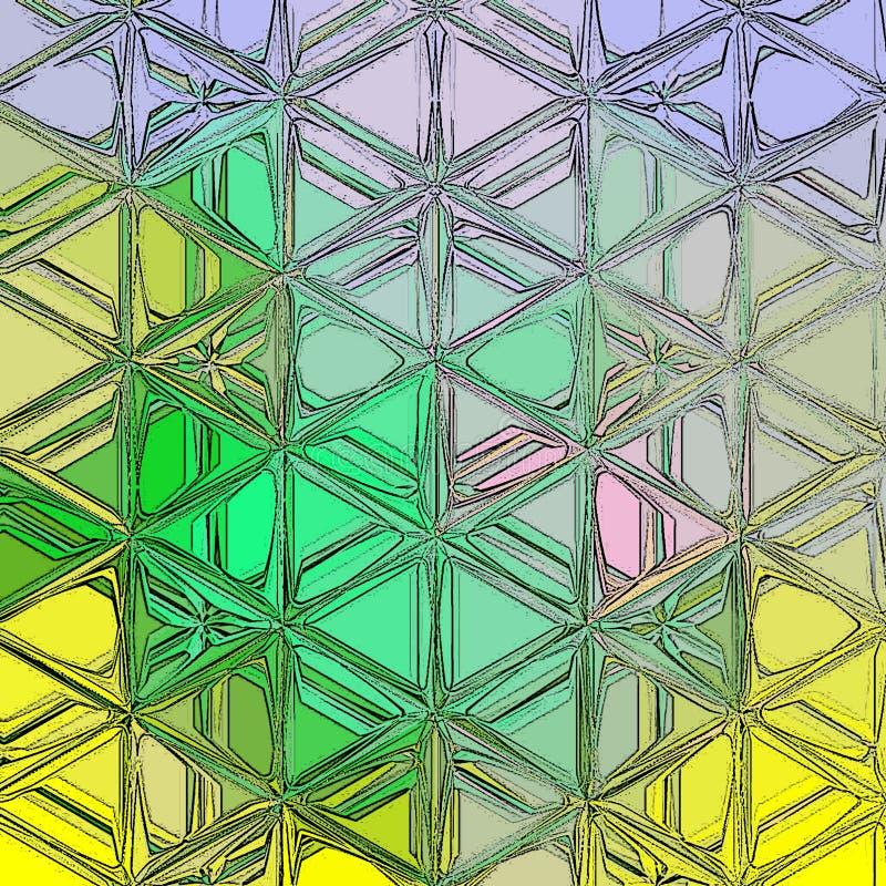 Τρυφερό αφηρημένο υπόβαθρο σχεδίων τριγώνων στο μπλε, κιρκίρι, πράσινος και κίτρινος απεικόνιση αποθεμάτων