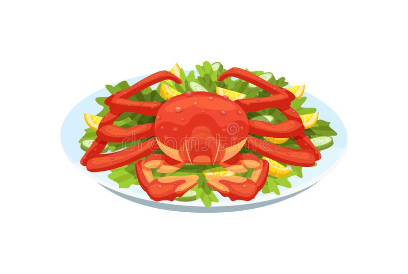 Τρυφερό κρέας καβουριών, αστακός, στο τεθωρακισμένο, με τα πράσινα, λαχανικά, λεμόνι ελεύθερη απεικόνιση δικαιώματος