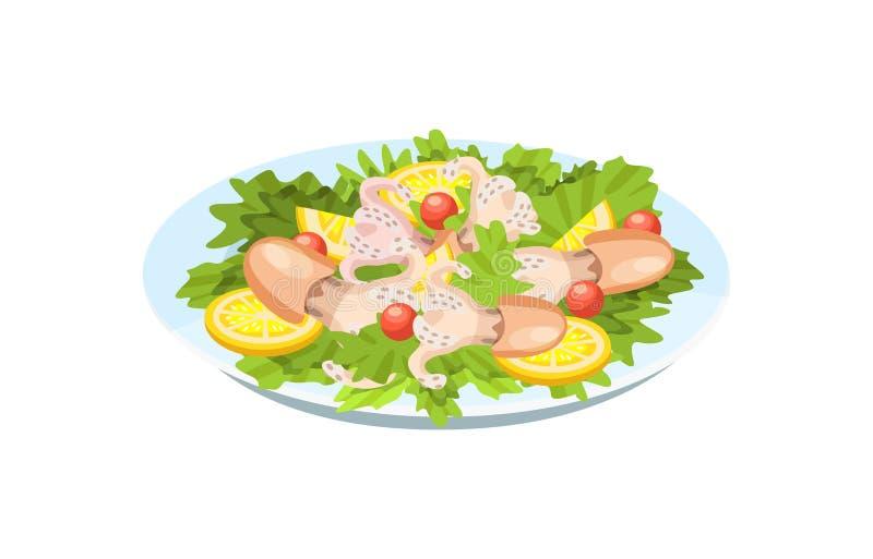 Τρυφερό κρέας του καλαμαριού, χταπόδι, με τα πράσινα, λαχανικά, λεμόνι απεικόνιση αποθεμάτων