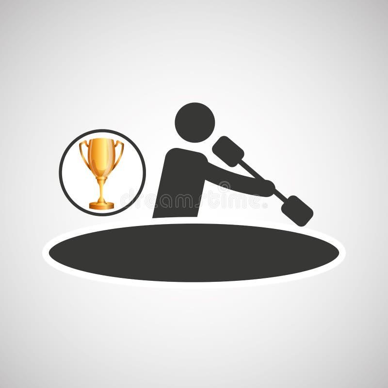 Τρόπαιο αθλητών κωπηλασίας κανό ατόμων σκιαγραφιών διανυσματική απεικόνιση
