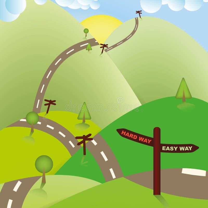 Τρόποι οδικών σημαδιών, σκληρά ή εύκολος. Επιχειρησιακή έννοια. απεικόνιση αποθεμάτων