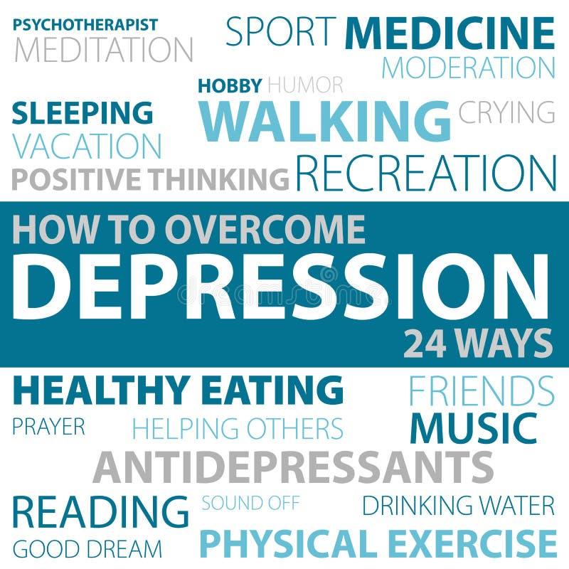 Τρόποι πώς να υπερνικήσει την κατάθλιψη διανυσματική απεικόνιση