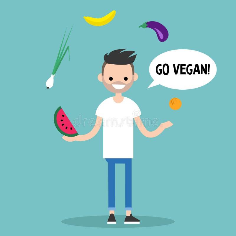 τρόπος ζωής σύγχρονος πηγαίνετε vegan Νέα γενειοφόρα φρούτα ταχυδακτυλουργίας ατόμων απεικόνιση αποθεμάτων