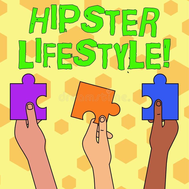 Τρόπος ζωής Hipster κειμένων γραψίματος λέξης Επιχειρησιακή έννοια για την πτώση επιλογών και ενδιαφερόντων μουσικής έξω από την  διανυσματική απεικόνιση