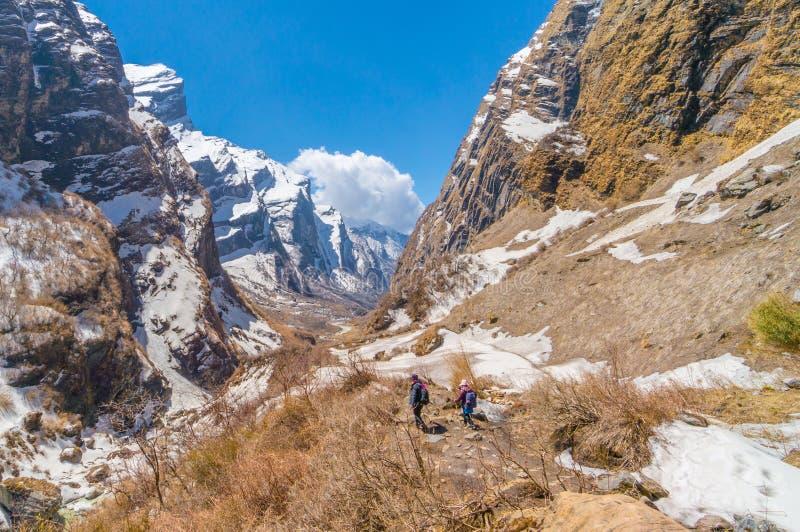 Τρόπος οδοιπορίας στο στρατόπεδο βάσεων Annapurna στοκ φωτογραφίες