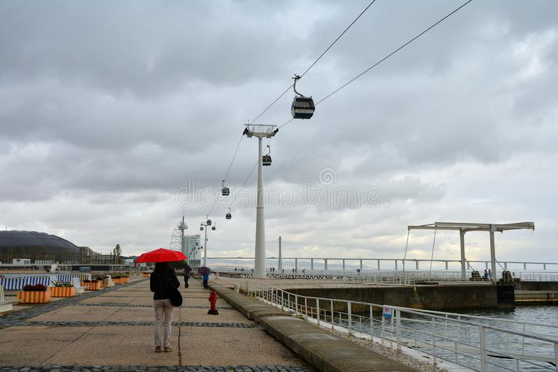 Τρόπος περπατήματος στην όχθη ποταμού Tagus με το σιδηρόδρομο τελεφερίκ σε Parque DAS Nacoes, Λισσαβώνα στοκ φωτογραφίες