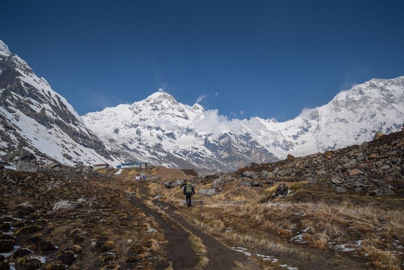 Τρόπος στο στρατόπεδο βάσεων Annapurna στο Νεπάλ στοκ φωτογραφία με δικαίωμα ελεύθερης χρήσης