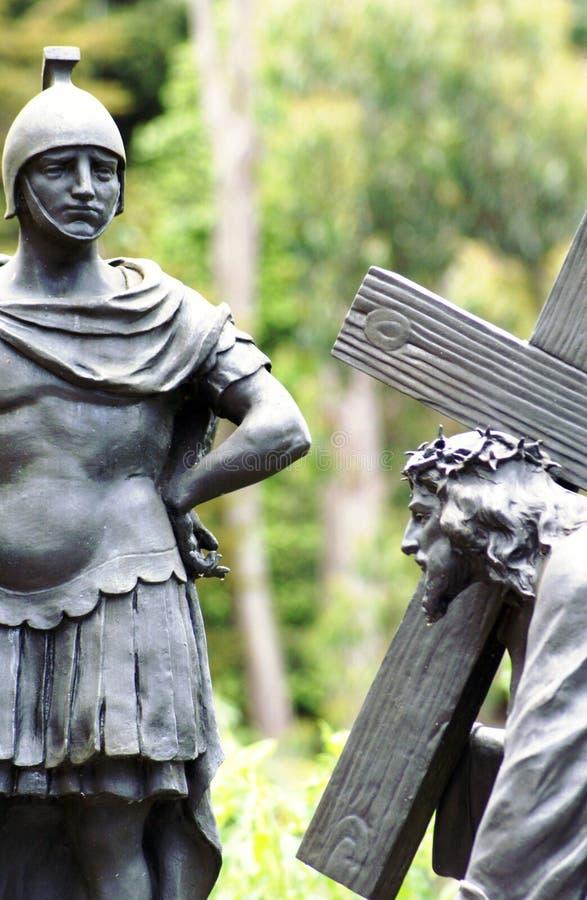Τρόπος του σταυρού με τον Ιησού και τη φρουρά στοκ εικόνες