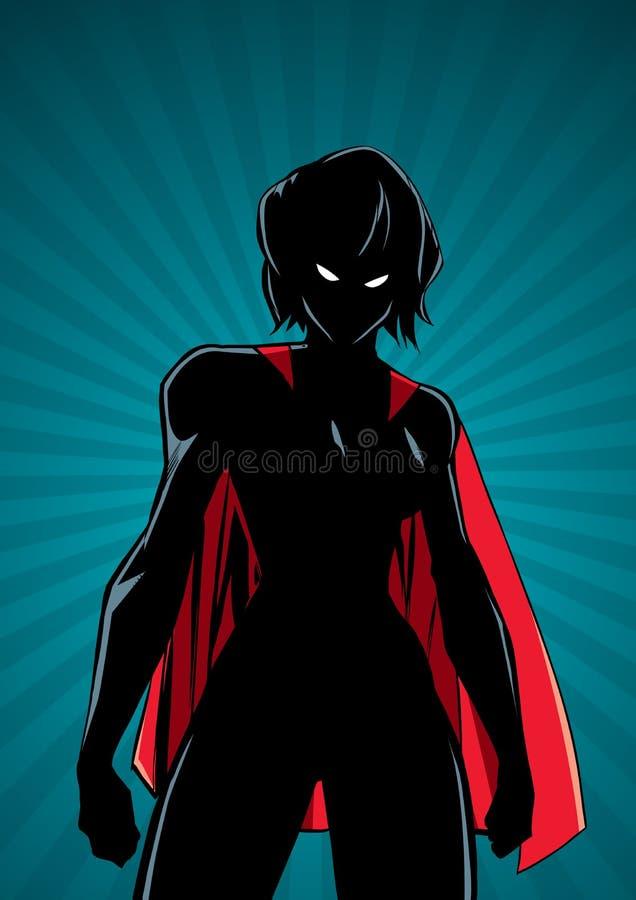 Τρόπος Ray Light Vertical Silhouette μάχης Superheroine διανυσματική απεικόνιση