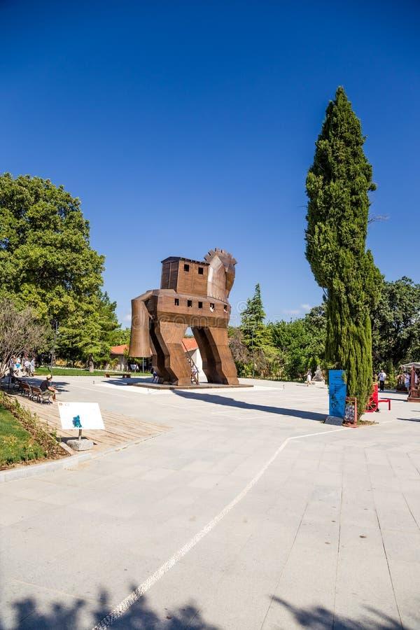 Τρόυ, Τουρκία Ένα life-size πρότυπο ενός υποθετικού τύπου Δούρειου ίππου στοκ φωτογραφία με δικαίωμα ελεύθερης χρήσης