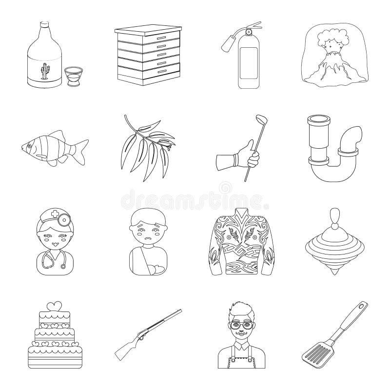 Τρόφιμα, αθλητισμός, lifeguard και άλλο εικονίδιο Ιστού στο ύφος περιλήψεων Ιατρική, οινόπνευμα, εικονίδια μελισσοκομίας στην καθ διανυσματική απεικόνιση